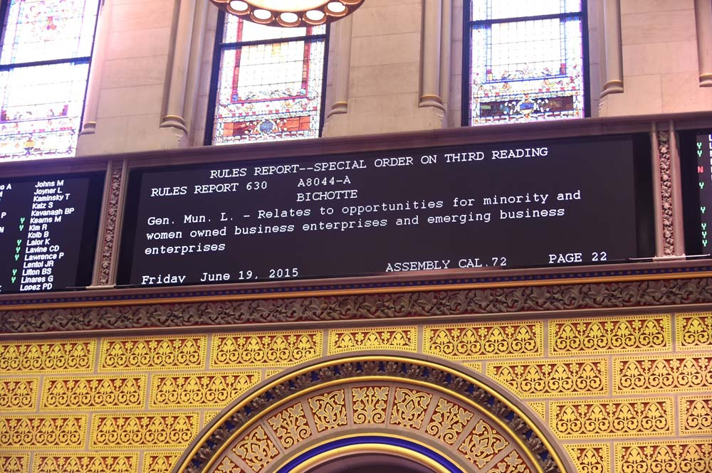 Assemblymember Bichotte sponsored bill A-8044-A, which called for New York City to establish goals for the participation of minority and women owned businesses in procurements of goods, standard services, professional services and construction, proceeds to the assembly floor for a vote.