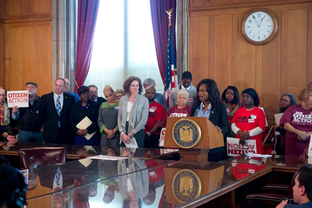 Assemblymember Bichotte speaks at Citizen Action�s Lobby Day at the State Capitol. The group appeared in Albany to lobby for livable minimum wage, equitable school funding and paid family leave.
