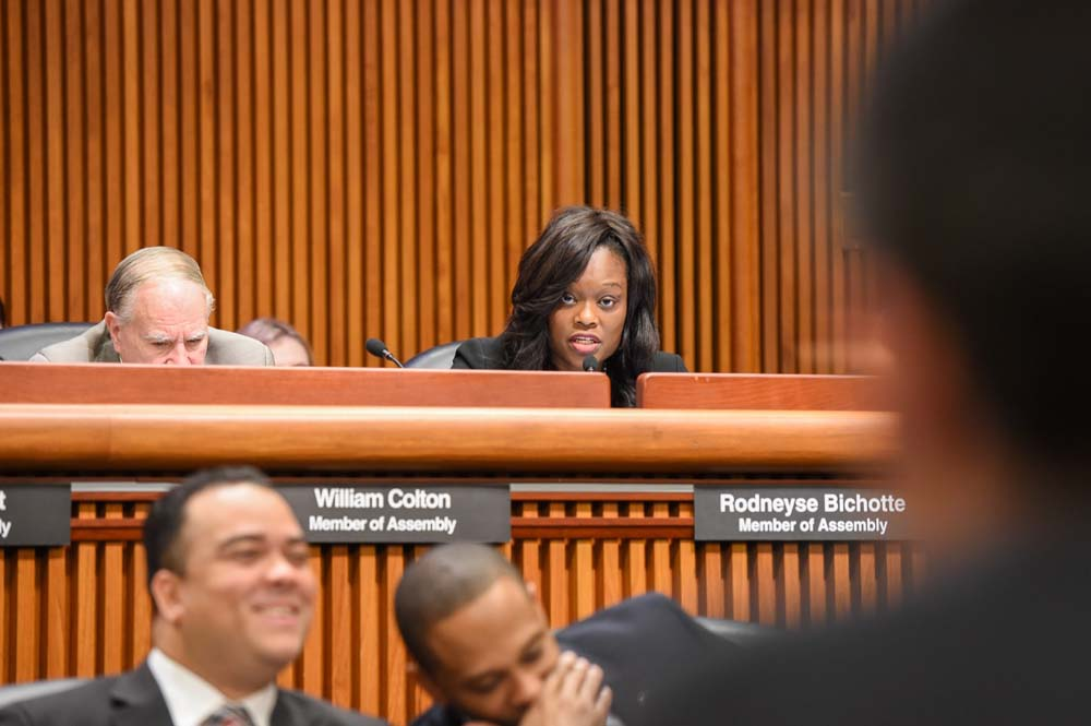 Assemblymember Bichotte, a member of the Assembly Committee on Housing, asks questions about affordable housing for her constituents while taking part in a state budget hearing.