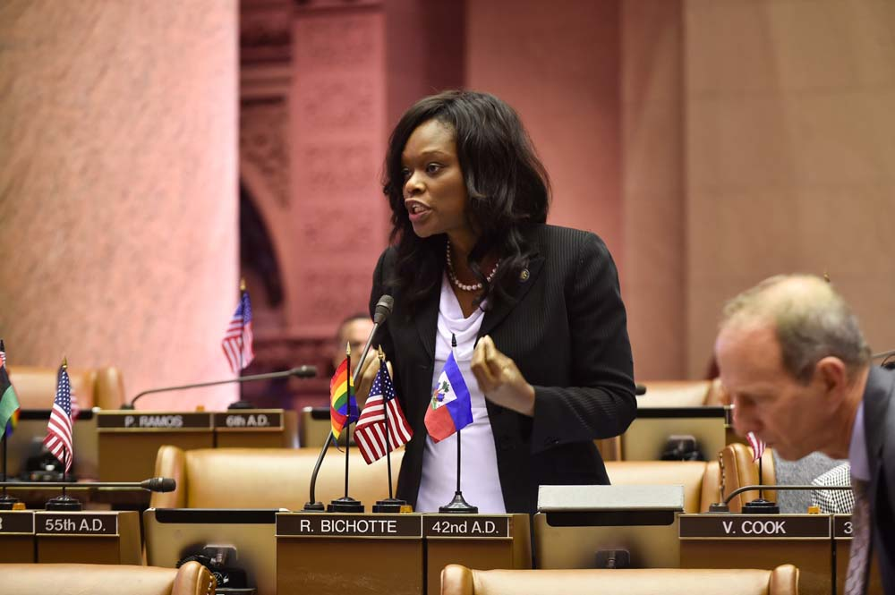 Assemblymember Bichotte speaks in favor of paid family leave while the topic is debated in Assembly Chamber.