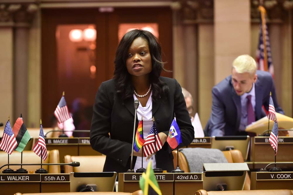 Assemblymember Bichotte debates the Paid Family Leave Act in the Assembly Chamber. Bichotte spoke in favor of the bill, which the Assembly Majority wanted as part of the New York State budget. The bill passed and was signed into law.