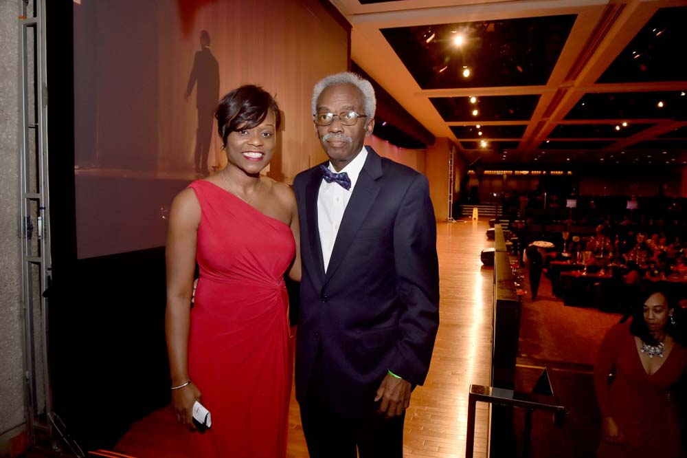 Assemblymember Bichotte poses with William Howard, one of the guest speakers, at the 2016 Black and Hispanic Caucus at the Empire State Convention Center in Albany.