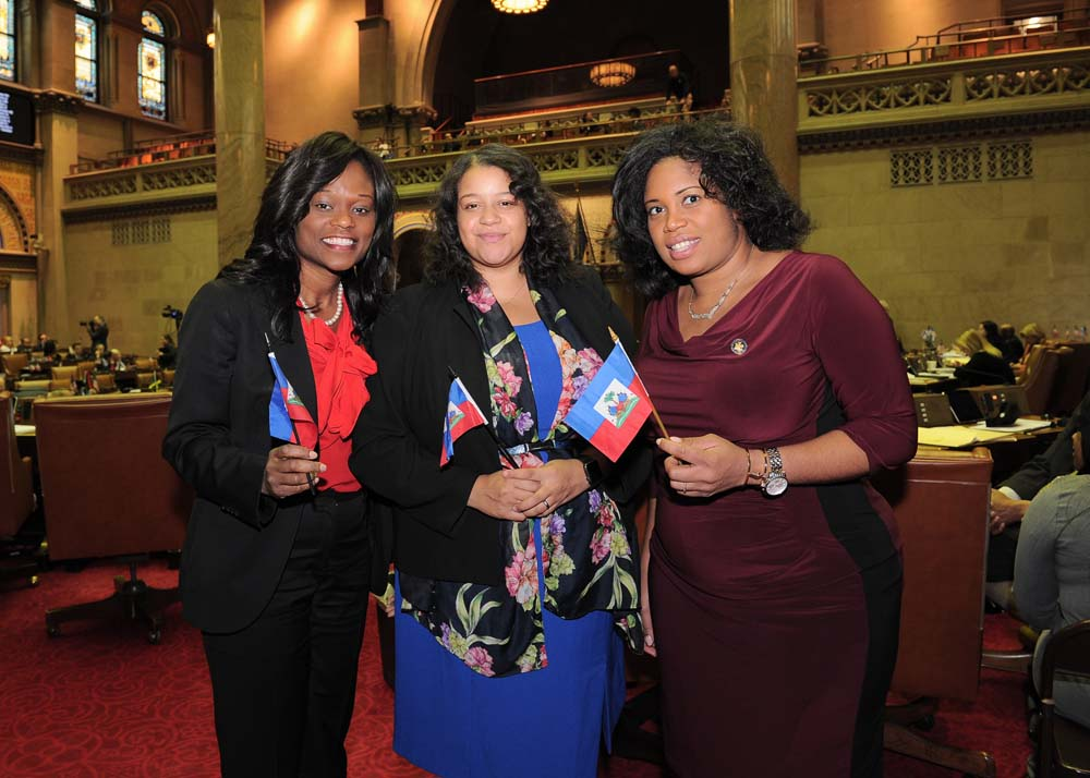 Assemblymembers Bichotte, Solanges and Jean-Pierre show off their Haitian-American heritage in Assembly Chambers after the assembly pause in its deliberations to remember those who lost their lives in Haiti in the wake of the devastating earthquake of 2010.