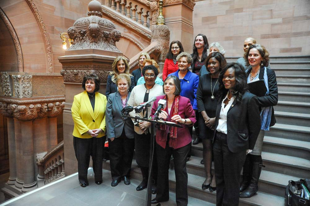 Assemblymember Bichotte, far right, joins members of the Women�s Legislative Caucus, which consists of members of the New York State Assembly and Senator, for a press conference in the New York State Capitol to outline its priorities for the 2016 session.