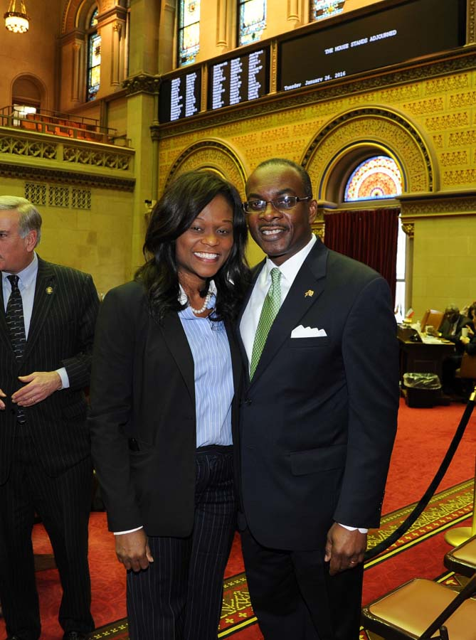Assemblymember Bichotte welcomes City of Buffalo Mayor Byron Brown to the Assembly Chamber while Brown was at the State Capitol to attend the yearly state budget hearing.