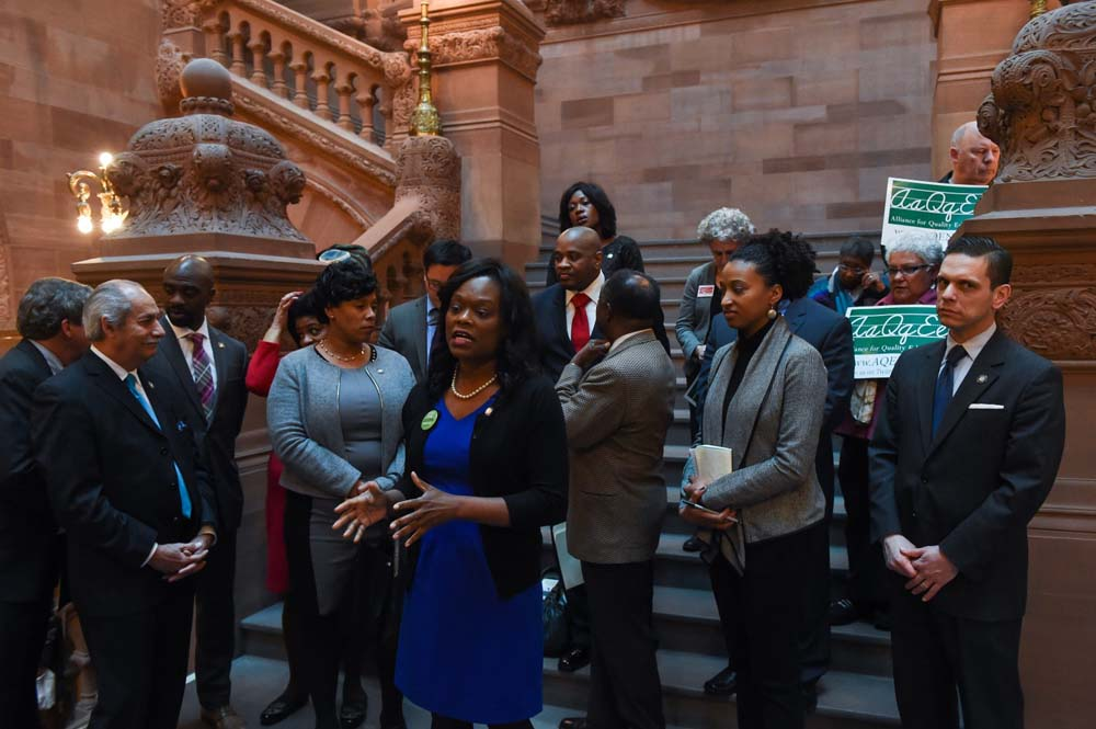 Assemblymember Bichotte speaks at an Alliance for Quality Education New York at the State Capital. The Assemblymember fought for community schools to receive $175 million in funding from the 2016-17 state budgets.