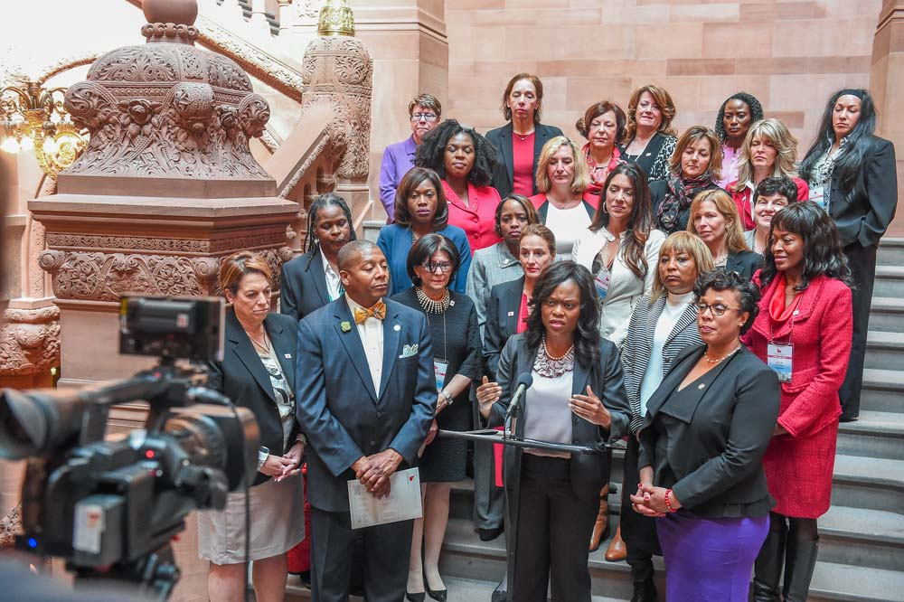 Assemblymember Bichotte, surrounded by fellow Assemblymembers and members of the Women�s Builders Council, speaks about MWBE legislation and opportunities that exist for women.