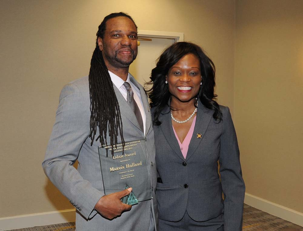 Assemblymen Bichotte poses with Marvin Holland, who was presented Labor Award by the New York State Association of Black and Puerto Rican Legislators. Holland won the award that signifies the individual who has made significant contributions on behalf of minorities in the labor movement.