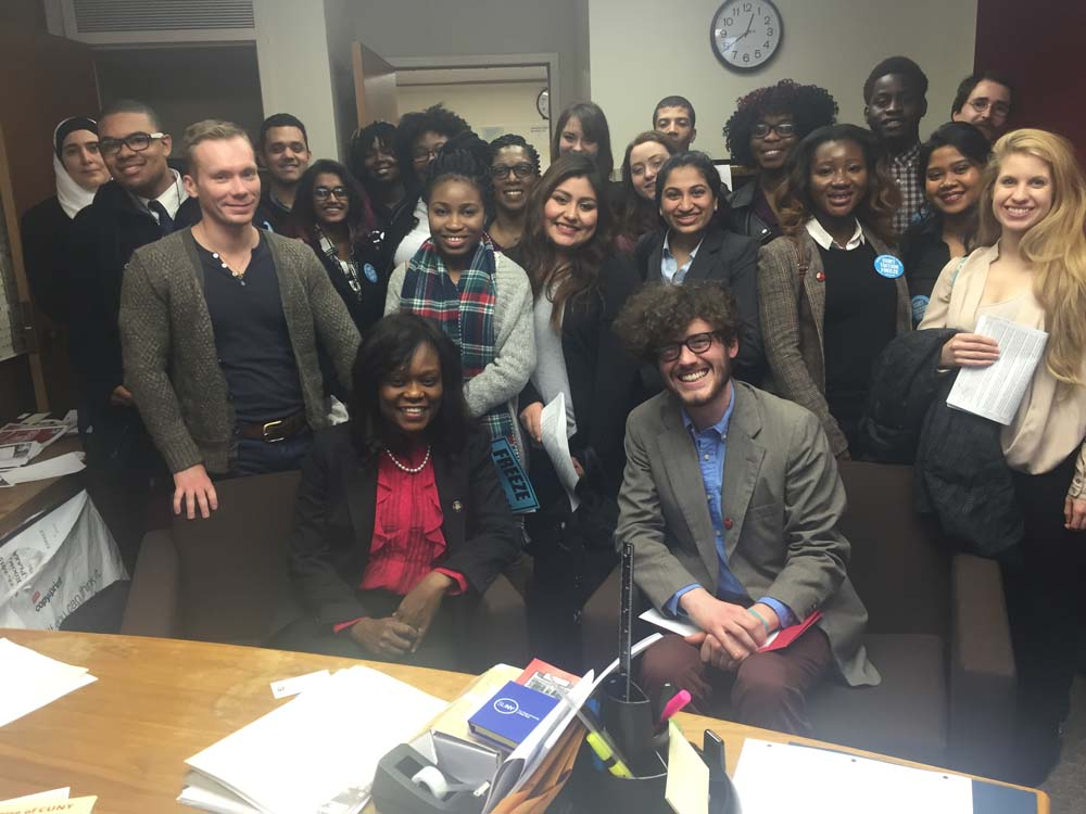 Assemblymember Bichotte is visited by Brooklyn College students as they lobby for funding for CUNY.