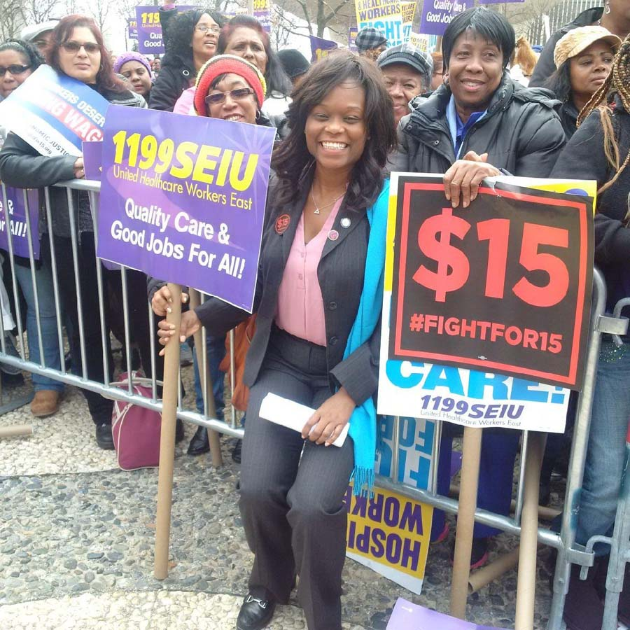 Assemblymember Bichotte joins union members and other community advocates and activists to fight for a $15 minimum wage throughout the State of New York.