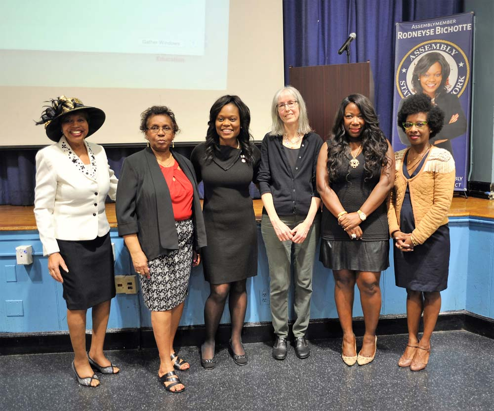 Assemblymember Bichotte, center, with honorees from her first annual Women�s History Event � Shining Stars Reception and Awards Ceremony honoring women in the community for their outstanding contributions. From l. to r., Ms. Mable Robertson, for Lifetime Achievement, Patricia Raddock, for Community Engagement, Sandy Brandwein, for Education, Karen Mitchell for Business and Entrepreneurship, and Shelley Worrell, for Arts and Entertainment.