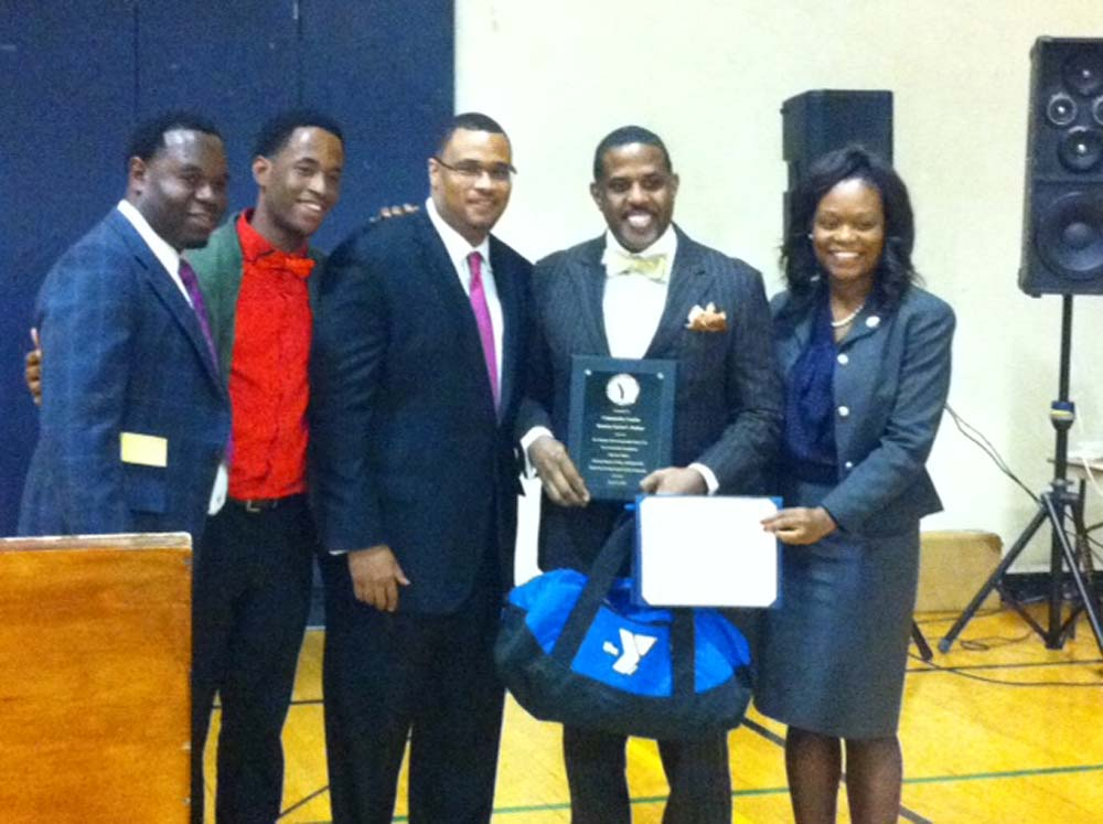 Assemblymember Bichotte at the Young at Heart and Men�s Dinner at the Flatbush YMCA, with honoree State Senator Kevin Parker, and Executive Director, Meishay Gaddis, and fellow presenters.