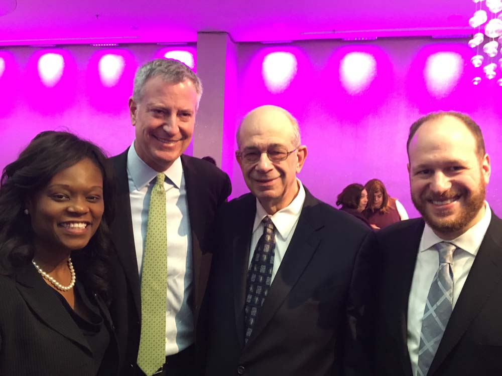Assemblymember Bichotte, left, with Mayor Bill DeBlasio, Jerry Greenwald, Editor, and CEO of the Jewish Press, and Council Member David Greenfield at the Legislative Breakfast hosted by the Council for Jewish Organizations (COJO).