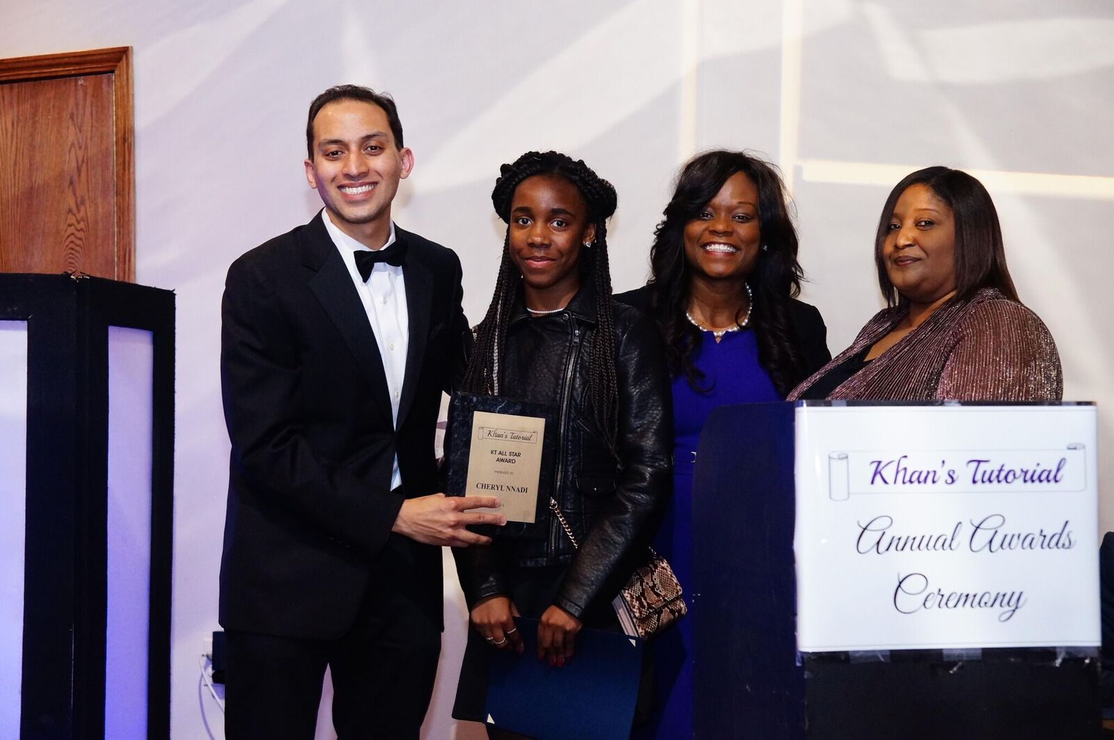 Assemblymember Bichotte along with Dr. Ivan Khan, Executive Director of Khan�s Tutorial, and Karen Watts, Superintendent of Brooklyn Technical High School and Brooklyn Latin, award Stuyvesant High School bound student Cheryl Nandi with the Dr. Mansur Khan SHSAT Opportunity Scholarship.