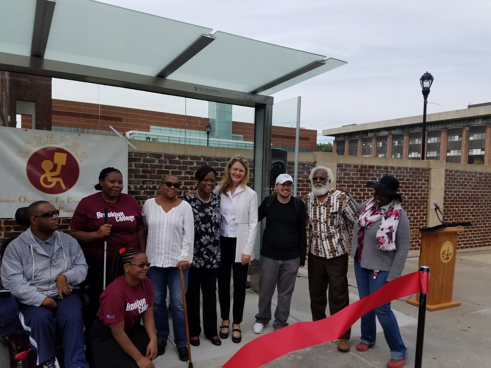 "Assemblymember Bichotte joined President Michelle Anderson, Ernest Skinner of Councilmember Jumaane D. William's office, and members of ""So Fed Up,"" a student advocacy group for disabled members of the Brooklyn college community, to celebrate the new Access-A-Ride Stop on Bedford Avenue.  <br />"