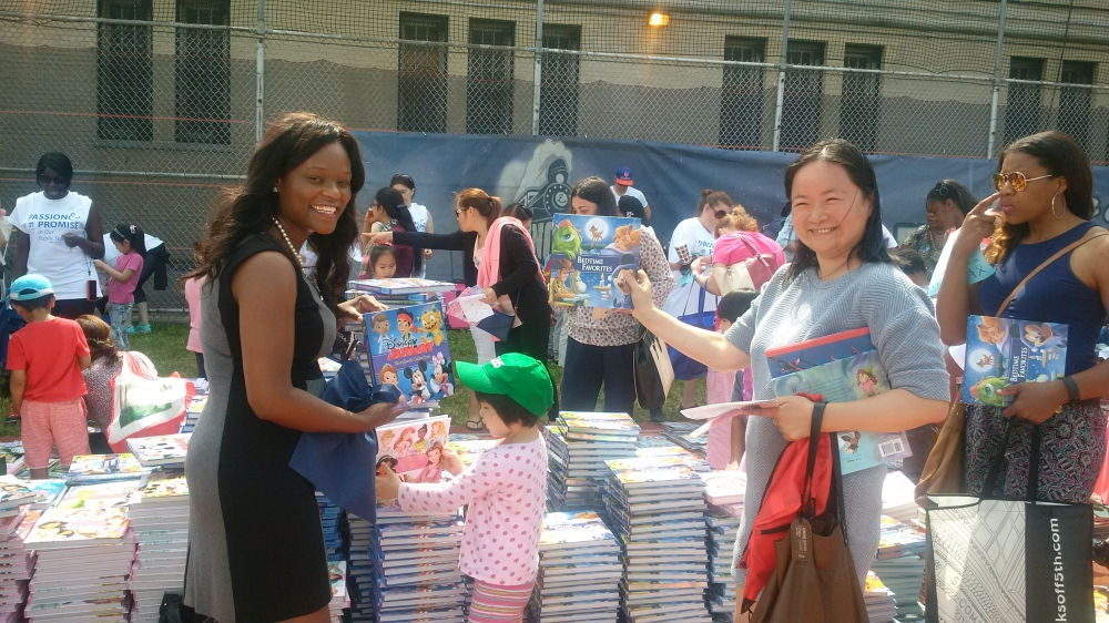 Assemblymember Bichotte participates in the book giveaway hosted by the United Federation of Teachers (UFT)<br />