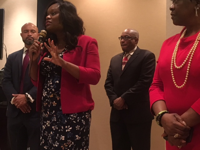 Assembly Member Rodneyse Bichotte brings greetings to the attendees at the Buffalo to Brooklyn Reception during Caucus Weekend 2017.<br />