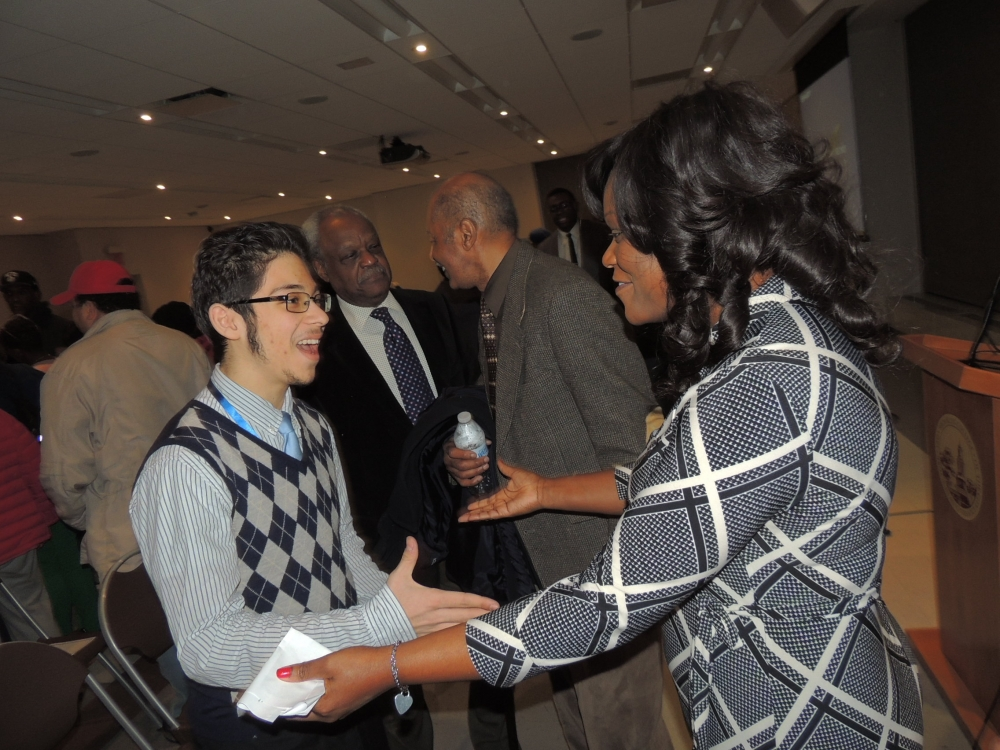 Assembly Member Rodneyse Bichotte greeting a constituent after her annual state of the district address<br />