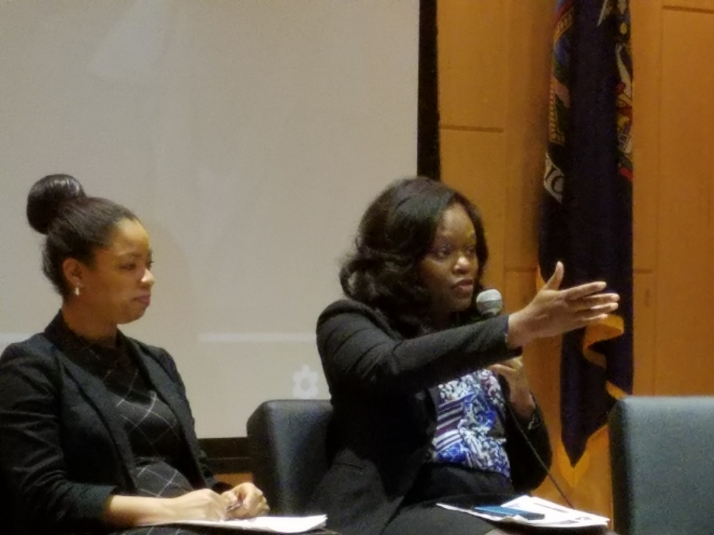 Assembly Member Rodneyse Bichotte participates in a panel at the 6th Annual Shirley Chisholm Women's Empowerment Conference at Medgar Evers College during Women's History Month.<br />