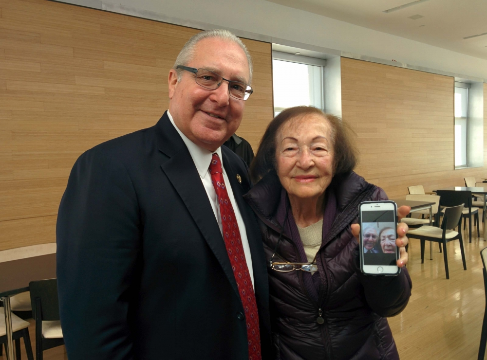Assemblyman Cymbrowitz and a constituent proudly show off their selfie. As Chairman of the Assembly's Aging Committee, the Assemblyman joined representatives from AT&T at the Sephardic Community Cente