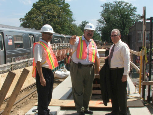 An MTA project engineer explaining to Assemblyman Cymbrowitz how the reconstruction of the Avenue M subway station is being implemented. The Assemblyman has been making sure that the MTA knows he is watching the progress and expects them to stay on schedule.