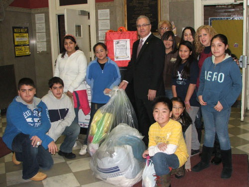 Students from local schools and constituents all pitched in donating wearable coats to Assemblyman Cymbrowitz� Annual Winter Coat Drive. Assemblyman Cymbrowitz personally picked up the coats from PS 206 thanking the young donors for their concern for others.