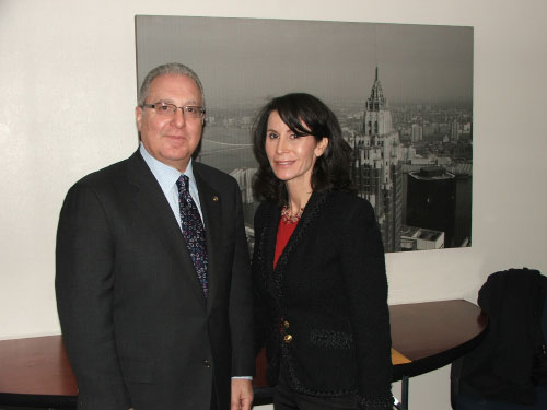 Assemblyman Cymbrowitz with Commissioner Katherine Oliver of the Mayor�s Office of Film, Theatre and Broadcasting, after meeting with her to find a solution to the parking problem caused by her agency issuing parking permits for TV productions around the JC Studios on East 14th Street and Avenue M, leaving no spaces for residents and local shoppers.