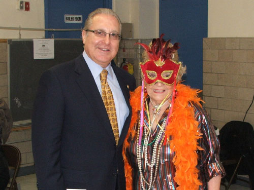 Assemblyman Cymbrowitz is pictured with one of the �characters� he ran into while visiting Our Lady of Grace�s Senior Center shortly before Halloween.
