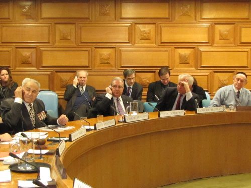 Assemblyman Cymbrowitz listening to a translator as he participates in a United Nations roundtable, <i>World Without Nazism - Global Goal for Humanity Today & 65th Anniversary of the Nuremberg Trials.</i> The Assemblyman, a second generation Holocaust survivor, was invited to address the international representatives gathered for the roundtable.