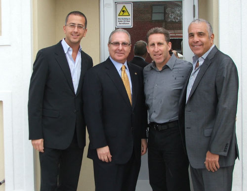 Assemblyman Steven Cymbrowitz, who has been appointed chairman of the Assembly�s Alcoholism and Drug Addiction Committee, visited SAFE�s (Sephardic Addiction and Family Education) newly completed building which provides both state of the art functionality for the staff and client privacy. Thanking Assemblyman Cymbrowitz for the funding he provided for the project is SAFE�s leadership (L-R) Isaac Chera, President, Ike Dweck, Executive Director, and Eddie Gindi, Vice President.