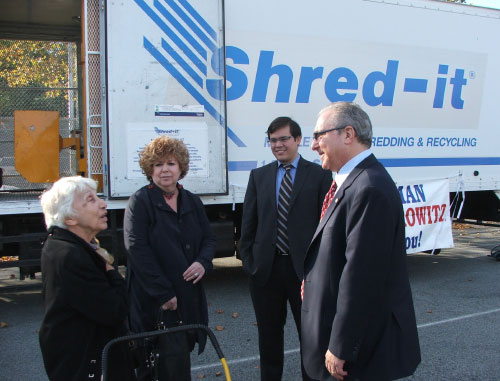 To help his constituents protect themselves from identity theft Assemblyman Cymbrowitz arranged for free document shredding. Community residents brought material containing sensitive personal information to the shredding truck and watched as their personal information was destroyed. The truck was parked in Bay Academy�s school yard.