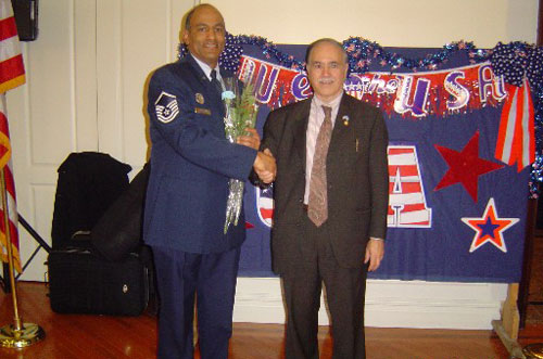 Assemblyman Colton is seen here thanking a vet for his service to our country and for risking his life abroad to ensure our safety at home.