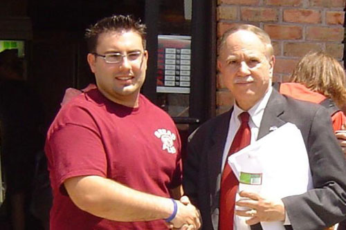 Assemblyman Colton is seen here meeting with a local bakery owner on the importance of the B64 bus to his business.