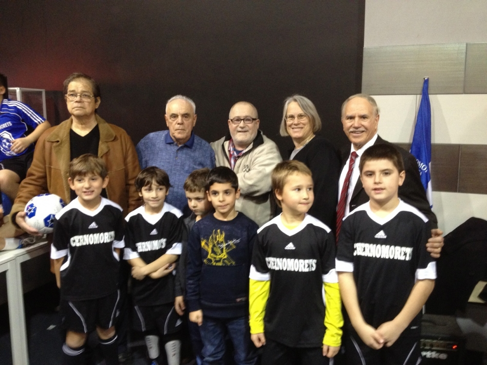 Assemblymembers Helene Weinstein and William Colton celebrate with Chermomorets youth soccer teams.  <br />