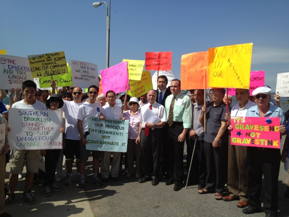 Assemblymember Colton and Council Member Mark Treyger at one of numerous protests against the building of the Southwest Brooklyn Garbage station at Shore Parkway and Bay 43rd Street.<br />