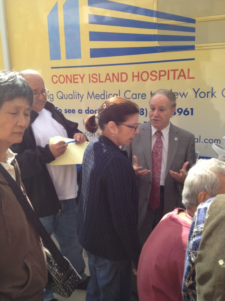 Assemblymember William Colton in front of Coney Island Hospital Health for a screening event he arranged for his constituents at his District Office. <br />