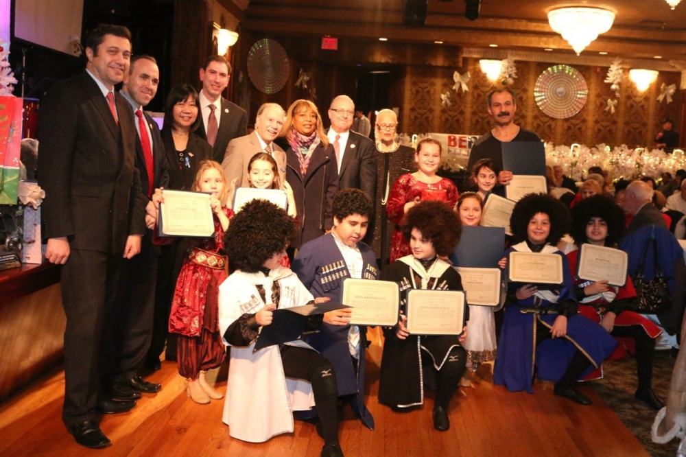 Assemblymembers William Colton, Pamela Harris and Steven Cymbrowitz, Council Members Mark Treyger and Chaim Deutch, Community Relations director Nancy Tong and Community leaders Ari Kagan and Theresa Sciavo at a Be Proud Foundation Channukah celebration.  <br />