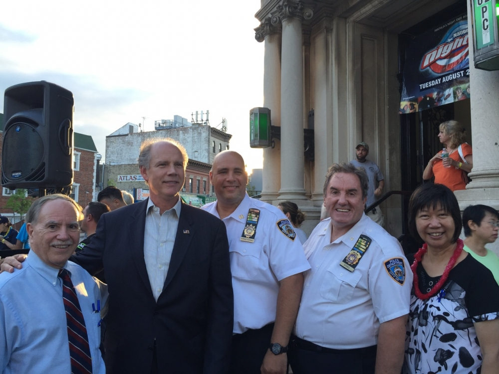 Assemblymember William Colton with Congressman Daniel Donovan, Community Leader Nancy Tong and 62nd Precinct Captain Anthony Sanserverino and Chief Chales School at 62nd Pct. Nite Out Against Crime in 2016.<br /> <br />