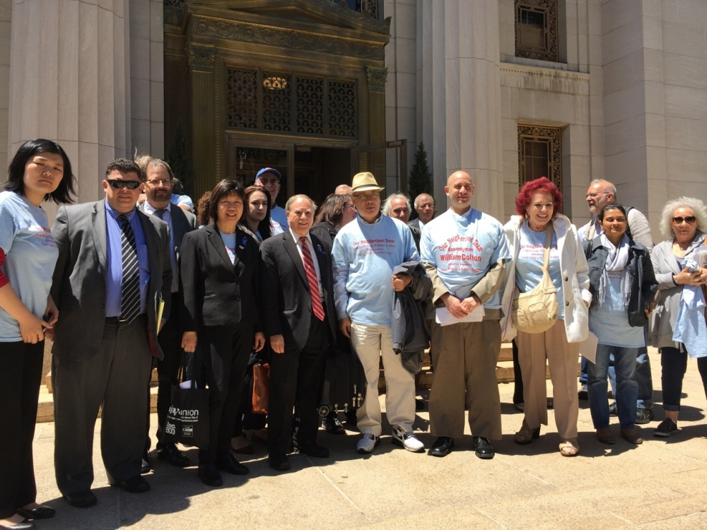 Assemblymember William Colton with pro bono co-counsel Chris Robles, Chief of Staff Susan Zhuang, Community Relations director Nancy Tong  and community leaders outside the Appellate Division Courthouse after arguing the Appeal against the Construction of the Southwest Brooklyn Garbage Station.<br />