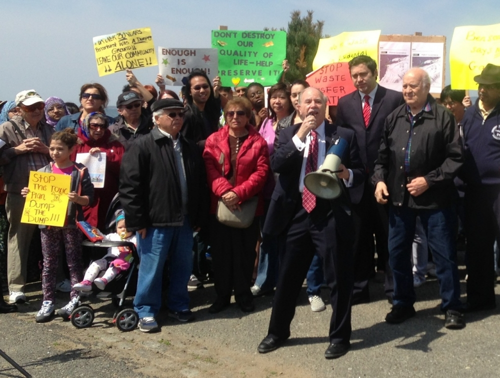 Assemblymember William Colton and numerous community leaders including Bill Naddeo, Nancy Tong, Priscilla Consolo, Ari Kagan, Sid Schatzman and many others  at a rally fighting against the Southwest Brooklyn Garbage Transfer Station.  <br />