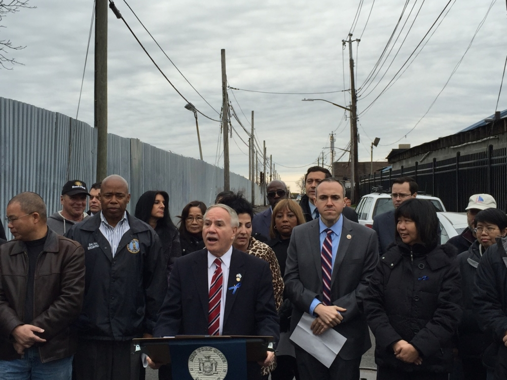 Assemblymembers William Colton and Pamela Harris, Borough President Eric Adams, State Senator Diane Savino, Council Member Mark Treyger, Community Relations Director Nancy Tong, and numerous community leaders including Ari Kagan and Steve Chung at a Press Conference protesting the building of the Southwest Brooklyn Garbage Station.<br />