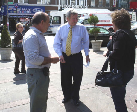 Assemblyman Abbate meets with constituents as he walks throughout the district discussing issues.