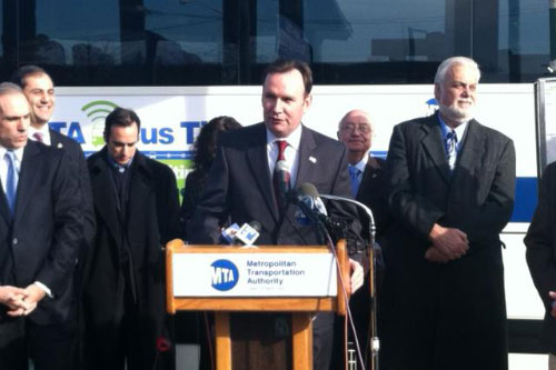 Assemblyman Michael Cusick attends a press conference announcing the new MTA program. MTA bus time which provides real time updates on bus location. A great program for Staten Island commuters.