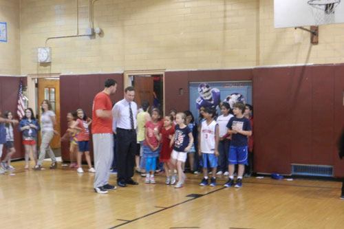 Assemblyman Cusick with students at Total Fitness Challenge Kick-off at PS 29.