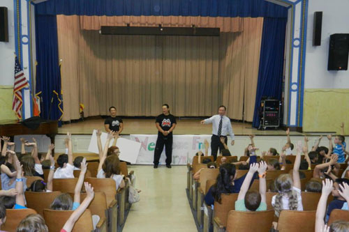 Assemblyman Cusick with students at Total Fitness Challenge Kick-off at PS 30.