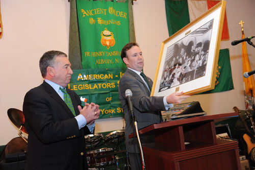 Assemblyman Cusick, President of the American Irish Legislators Society of New York State and Alfred E. Smith IV at the Society's 40th Annual Dinner on Monday, March 11th. Mr. Smith received the Special Acknowledge Award for his charitable work in the community. Mr. Smith is the great-grandson of New York State Governor Alfred E. Smith and was presented a portrait of Governor Alfred E. Smith accepting the presidential nomination in the Assembly Chamber of the State Capital, Albany 1928.