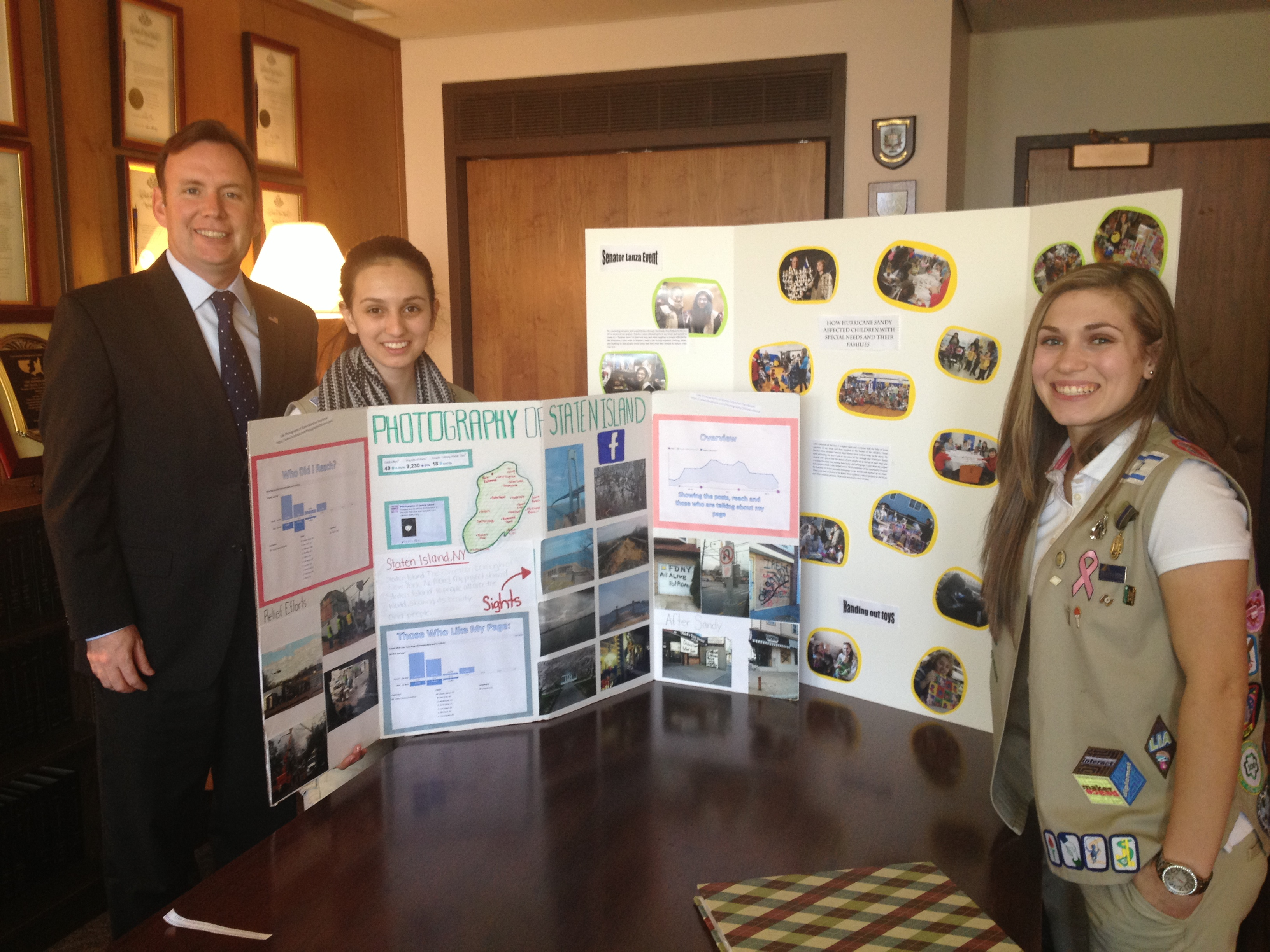 Assemblyman Cusick meets with Staten Island Girl Scouts Amy Azzopardi and Hayley Rosenfeld who were in Albany for Girl Scout Lobby Day.