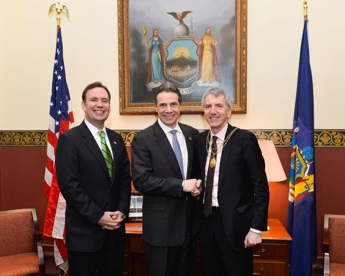 Assemblyman Cusick with Governor Cuomo and Mairtin O Muilleoir, Lord Mayor of Belfast, Ireland. The Lord Mayor came to the State Capitol in Albany to attend the American Irish Legislators Society dinner.
