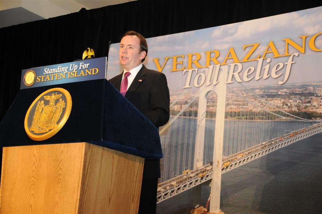 Assemblyman Cusick speaks at a press conference announcing the Staten Island Toll Relief Plan. -February 2014