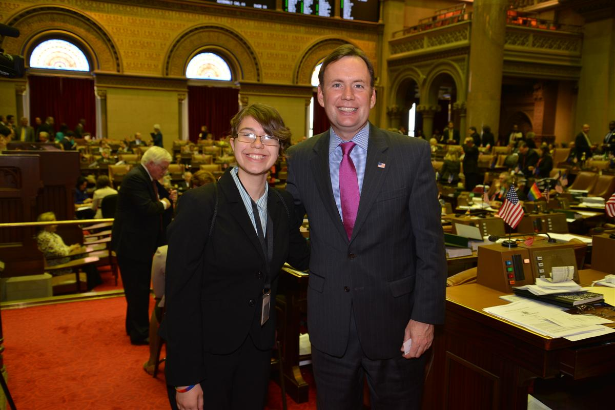 League of Women Voters sponsor�s Julia Lupino of Curtis High School who was at the State Capitol �shadowing� Assemblyman Cusick for the day and learning first-hand the legislative process. -May 2014